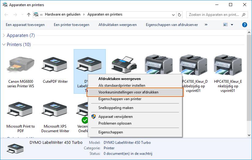 DYMO etikettype instellen in Windows printerinstellingen